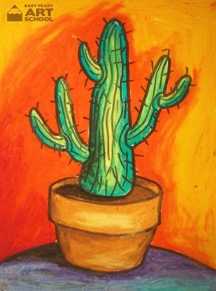 Free Lesson Cactus Easy Peasy Art School