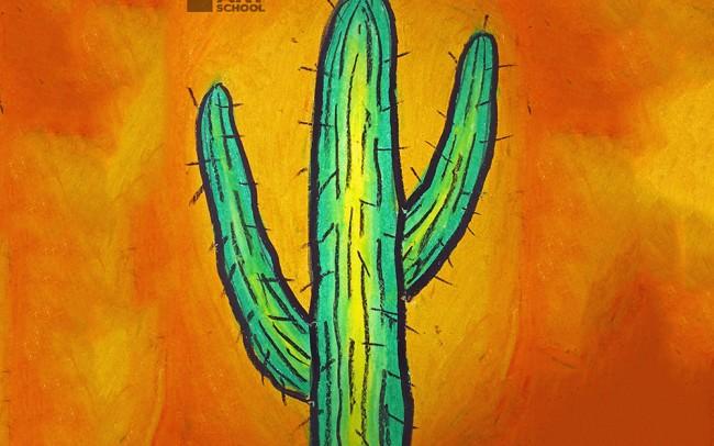 easy peasy art school - cactus completed