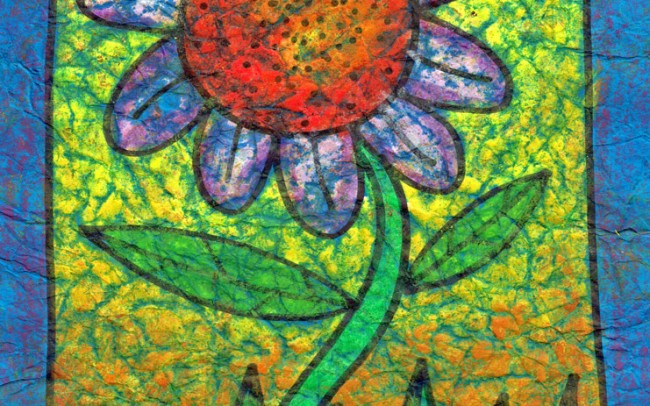Batik Flower art lesson plan -Easy Peasy Art School