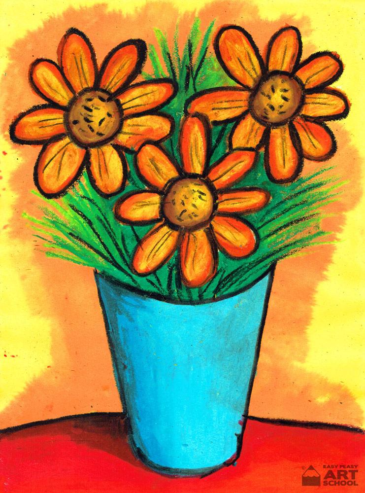 Still Life Vase Of Flowers By Easy Peasy Art School