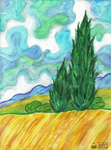 Wheat Field with Cypresses Inspired by Vincent - Easy Peasy Art School