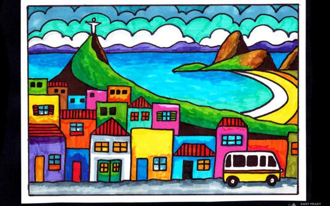 Olympics art lesson - Rio de Janeiro - Easy Peasy Art School