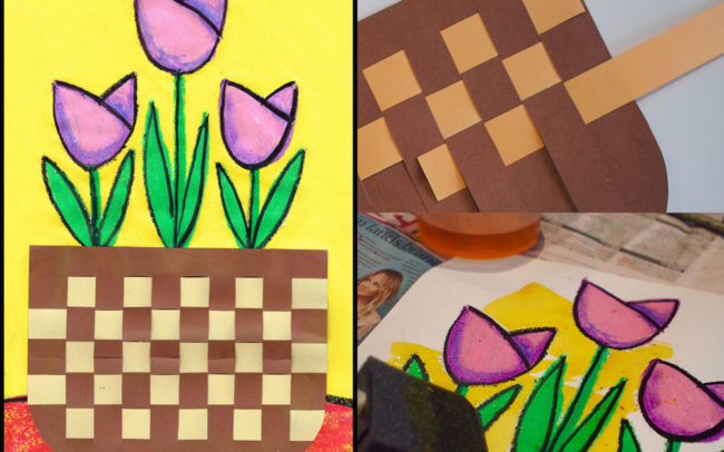Art lesson - Woven basket of tulips - easy peasy art school