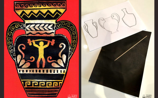 Olympic Games art lesson - Greek Vase - Easy Peasy Art School