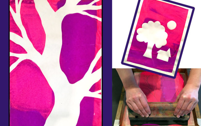 Art Lesson - Screen Printed Tree - Easy Peasy Art School