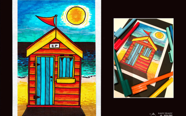 Beach Hut - Advanced. Art Lesson by Easy Peasy Art School