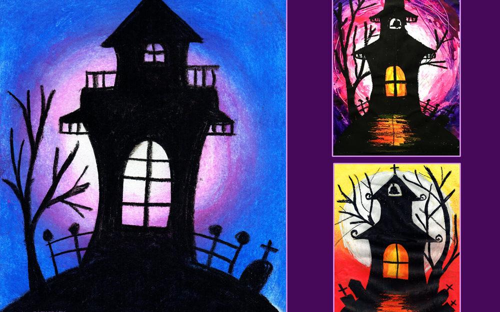 Free Art Lesson Haunted House Easy Peasy Art School