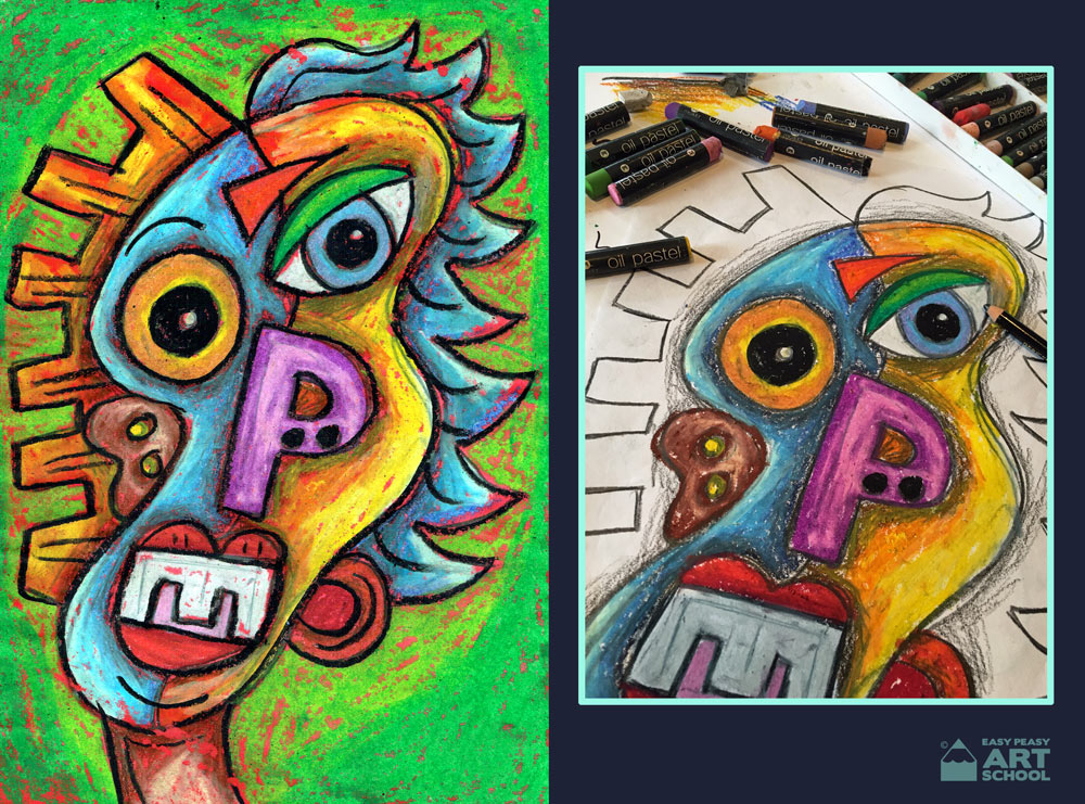 Abstract self portrait art lesson by Easy Peasy Art School