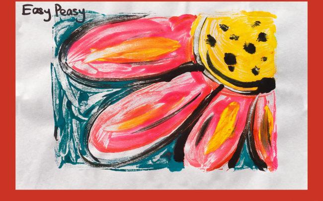 Monoprint Flower art lesson Easy Peasy Art School
