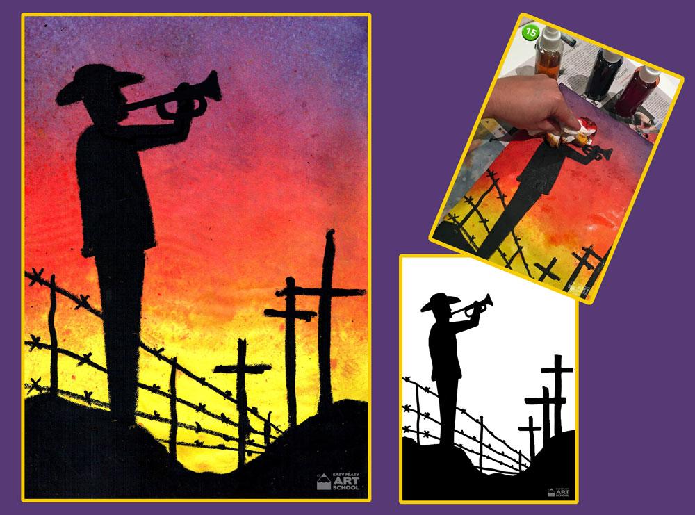 ANZAC Day - The Last Post art lesson by Easy Peasy Art School