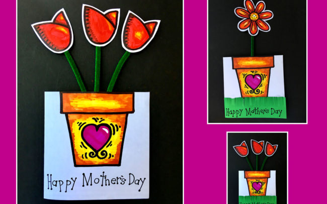 free mother's day card art lesson Easy Peasy Art School