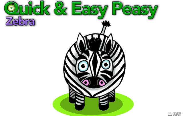 Quick and Easy Peasy Zebra. Online art and drawing lesson by Easy Peasy Art School
