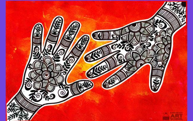 Pattern Hands art Lesson by Easy Peasy Art School