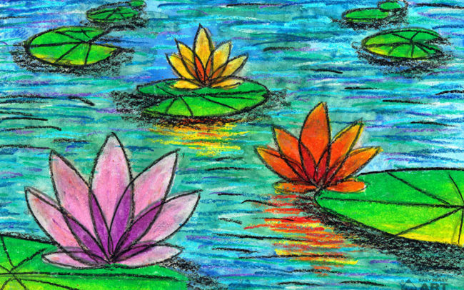 Water Lilies art lesson by Easy Peasy Art School
