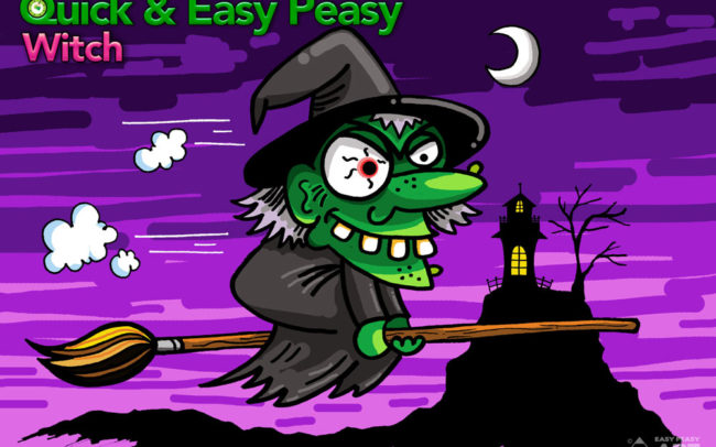 Quick & Easy Peasy Witch Art Lesson by Easy Peasy Art School.