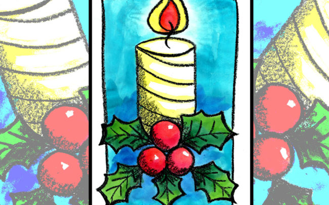 Christmas Candle online art lesson by Easy Peasy Art School