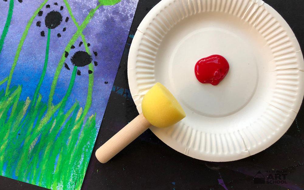 Field of Poppies art lesson by Easy Peasy Art School