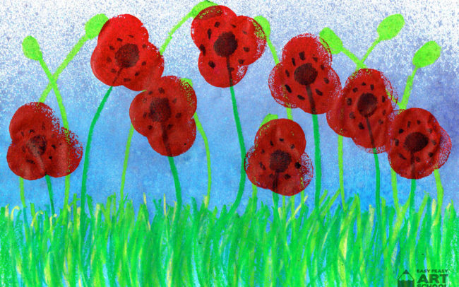 Field of Poppies art lesson by Easy Peasy Art School