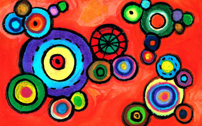 Colourful Circles art lesson by Easy Peasy Art School