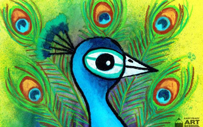 Peacock art lesson by Easy Peasy Art School