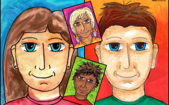 Simple Portrait art lesson by Easy Peasy Art School