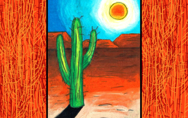 Cactus Landscape online art lesson by Easy Peasy Art School