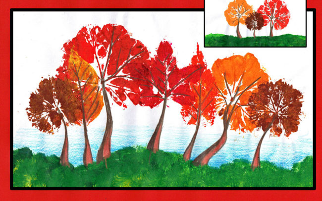 Autumn Leaf print Trees by Easy Peasy Art School