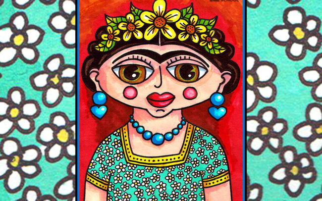 Frida Kahlo inspired online art lesson by Easy Peasy Art School
