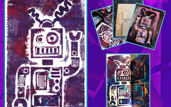 Robot Print art lesson by Easy Peasy Art School