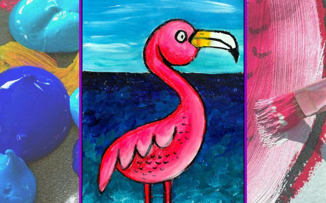 Flamingo art lesson by Easy Peasy Art School