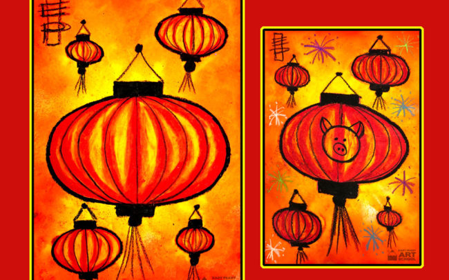 Chinese Lantern art lesson by Easy Peasy Art School