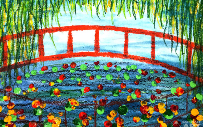 Monet's Garden art lesson by Easy Peasy Art School