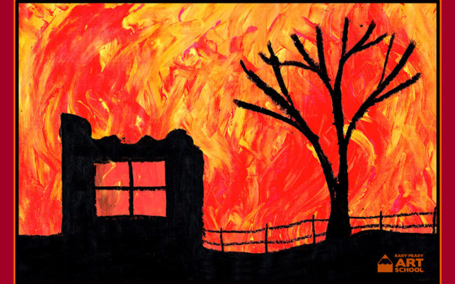 bushfire art lesson by Easy Peasy Art School