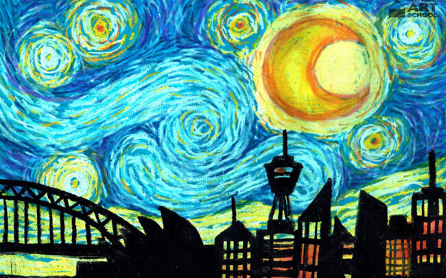 Starry Skyline by Easy Peasy Art School
